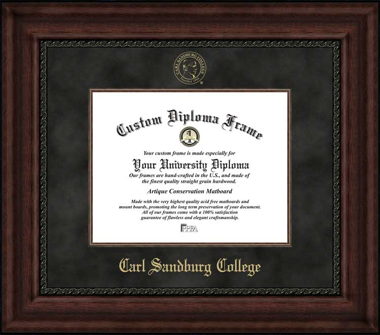 College - Carl Sandburg College  - Embossed Seal - Suede Mat - Mahogany - Diploma Frame