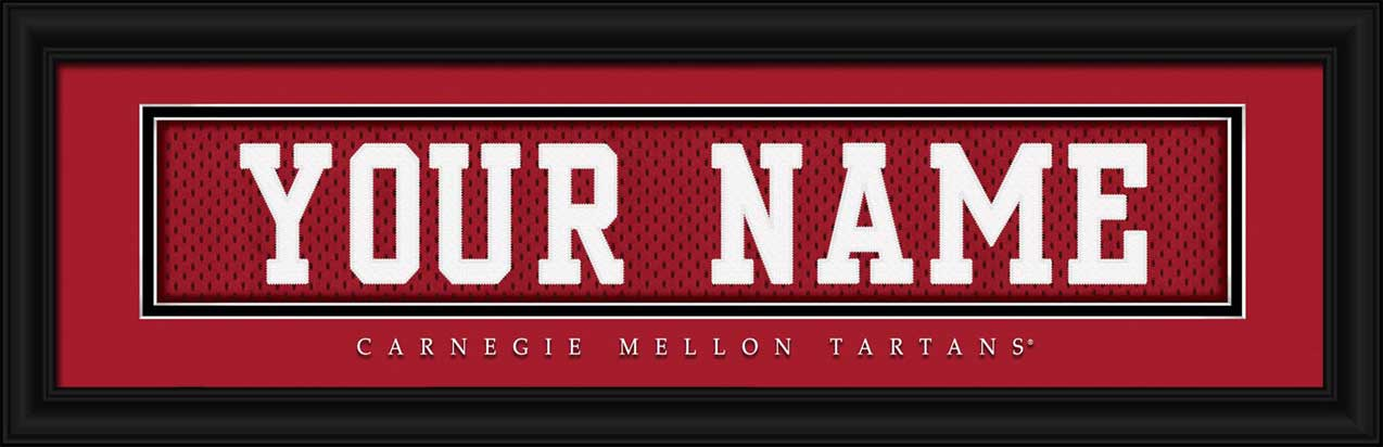 College - Carnegie Mellon Tartans - Personalized Jersey Nameplate - Framed Picture