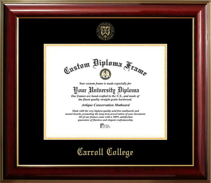 College - Carroll College Fighting Saints - Embossed Seal - Mahogany Gold Trim - Diploma Frame