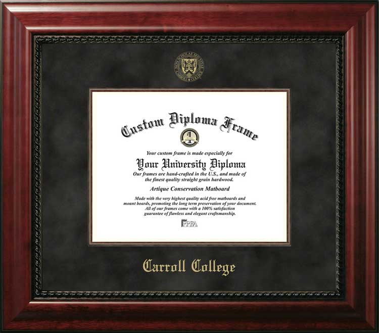 College - Carroll College Fighting Saints - Embossed Seal - Suede Mat - Mahogany - Diploma Frame