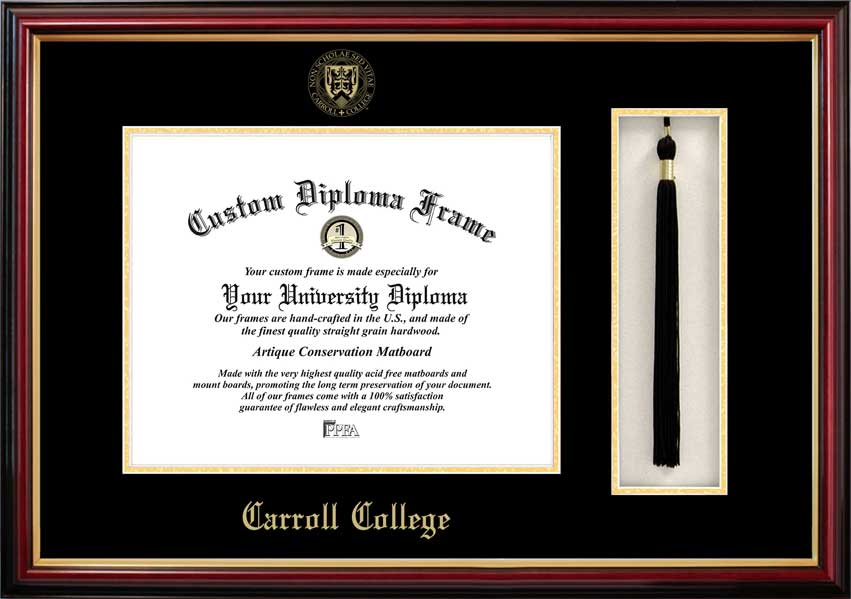 College - Carroll College Fighting Saints - Embossed Seal - Tassel Box - Mahogany - Diploma Frame