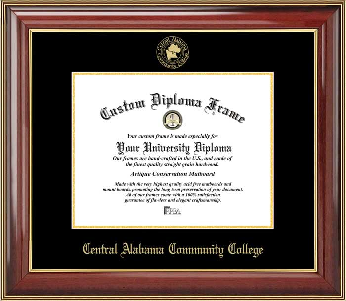 College - Central Alabama Community College Trojans - Embossed Seal - Mahogany Gold Trim - Diploma Frame