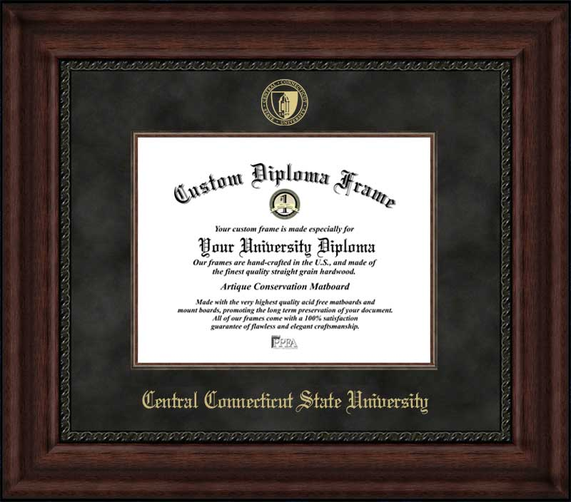College - Central Connecticut State University Blue Devils - Embossed Seal - Suede Mat - Mahogany - Diploma Frame