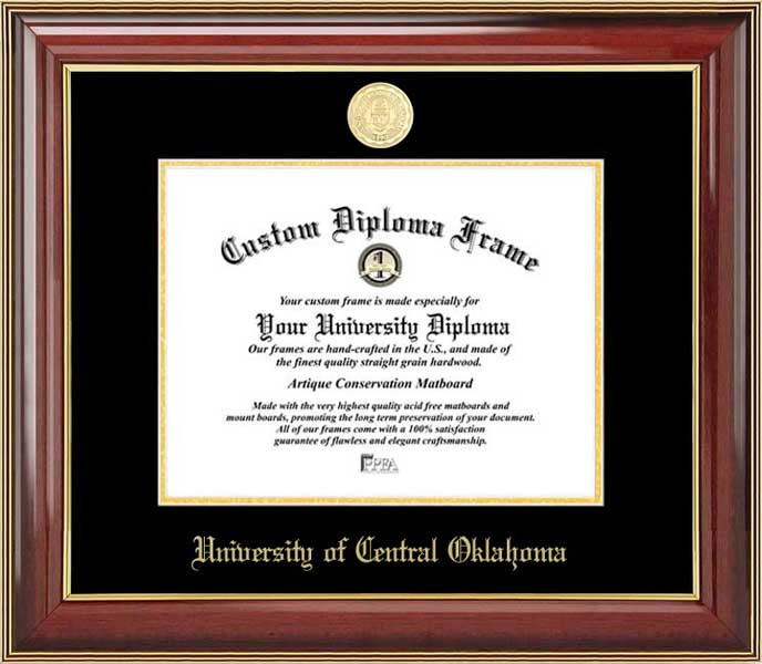 College - University of Central Oklahoma Bronchos - Gold Medallion - Mahogany Gold Trim - Diploma Frame