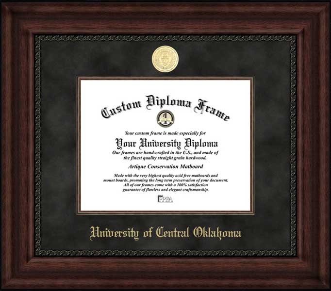 College - University of Central Oklahoma Bronchos - Gold Medallion - Suede Mat - Mahogany - Diploma Frame