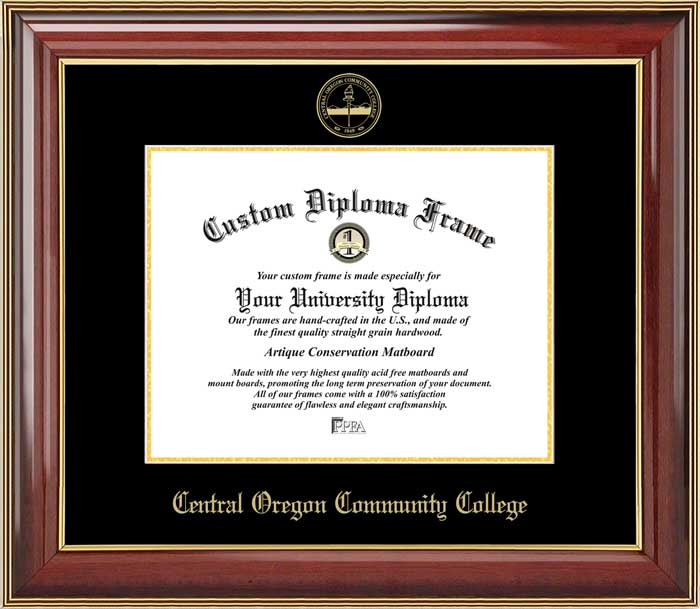 College - Central Oregon Community College  - Embossed Seal - Mahogany Gold Trim - Diploma Frame