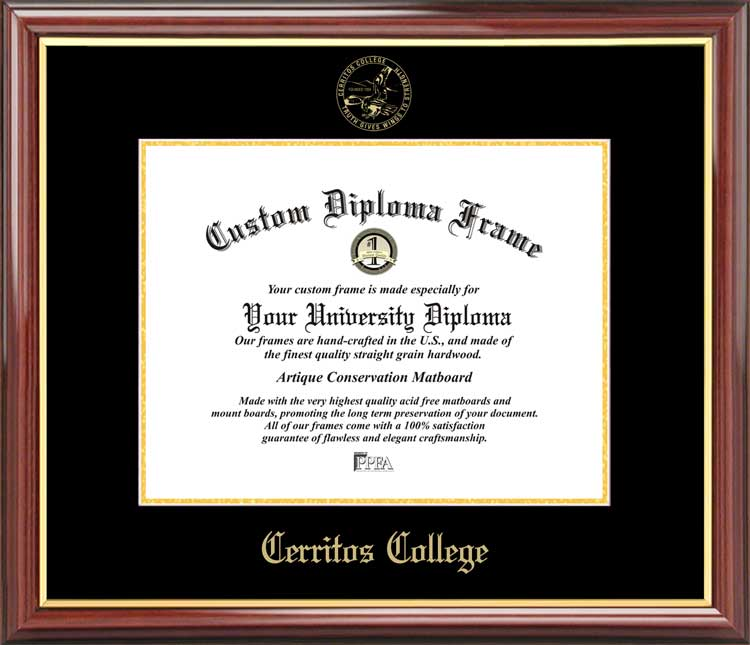 College - Cerritos College Falcons - Embossed Seal - Mahogany Gold Trim - Diploma Frame