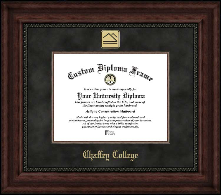 College - Chaffey College Panthers - Embossed Logo - Suede Mat - Mahogany - Diploma Frame