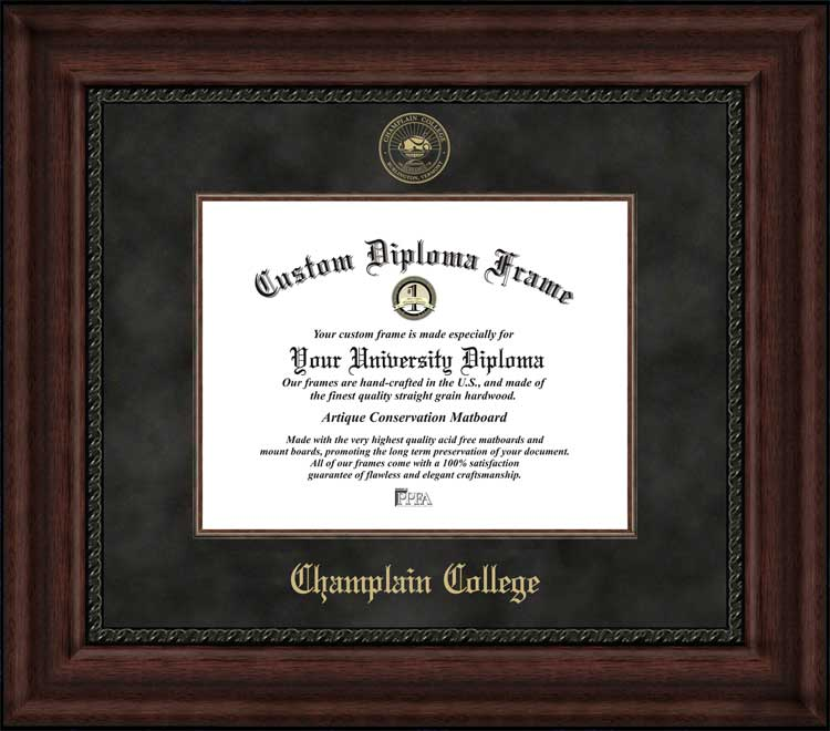 College - Champlain College  - Embossed Seal - Suede Mat - Mahogany - Diploma Frame