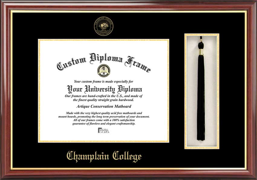 College - Champlain College  - Embossed Seal - Tassel Box - Mahogany - Diploma Frame