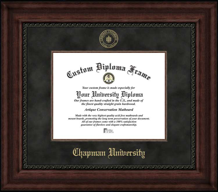 College - Chapman University Panthers - Embossed Seal - Suede Mat - Mahogany - Diploma Frame
