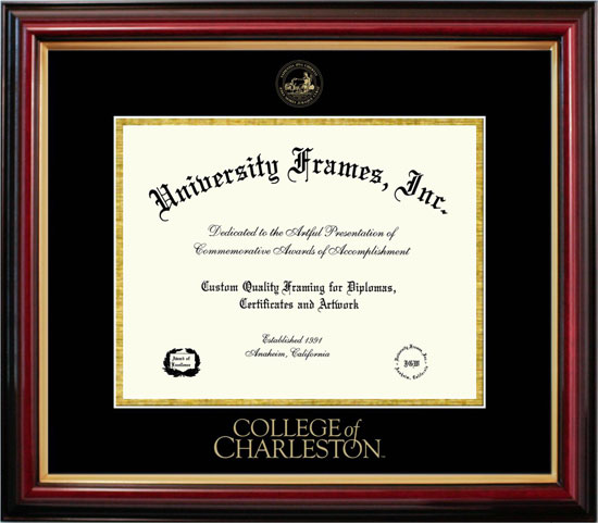 College - College of Charleston Cougars - Embossed Seal - Mahogany Gold Trim - Diploma Frame