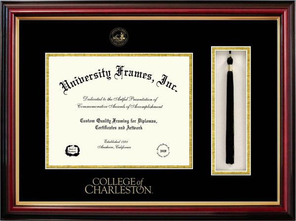 College - College of Charleston Cougars - Embossed Seal - Tassel Box - Mahogany - Diploma Frame