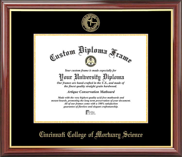 College - Cincinnati College of Mortuary Science  - Embossed Logo - Mahogany Gold Trim - Diploma Frame