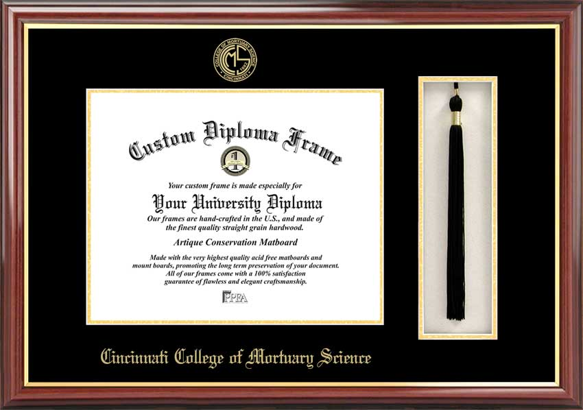 College - Cincinnati College of Mortuary Science  - Embossed Logo - Tassel Box - Mahogany - Diploma Frame