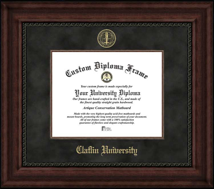 College - Claflin University Panthers - Embossed Seal - Suede Mat - Mahogany - Diploma Frame