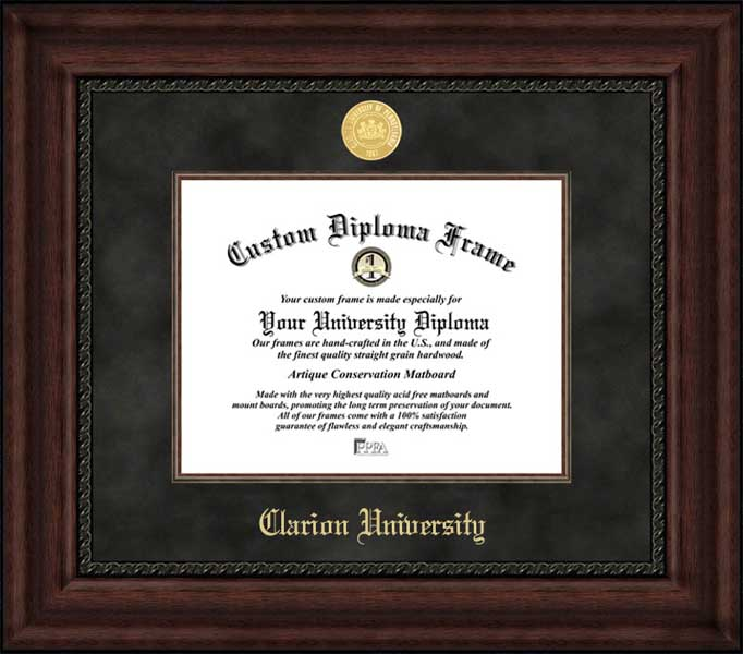 College - Clarion University Golden Eagles - Gold Medallion - Suede Mat - Mahogany - Diploma Frame