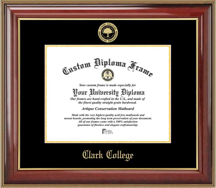 College - Clark College Penguins - Embossed Seal - Mahogany Gold Trim - Diploma Frame
