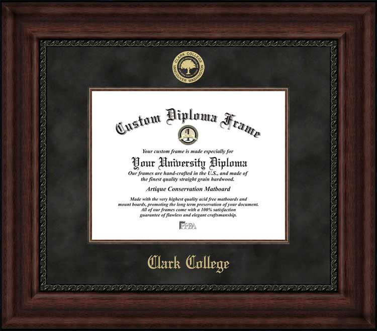 College - Clark College Penguins - Embossed Seal - Suede Mat - Mahogany - Diploma Frame