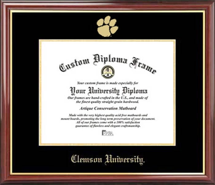 College - Clemson University Tigers - Embossed Logo - Mahogany Gold Trim - Diploma Frame