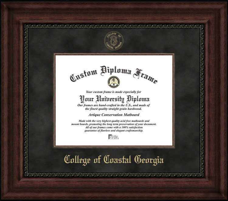 College - College of Coastal Georgia Mariners - Embossed Seal - Suede Mat - Mahogany - Diploma Frame