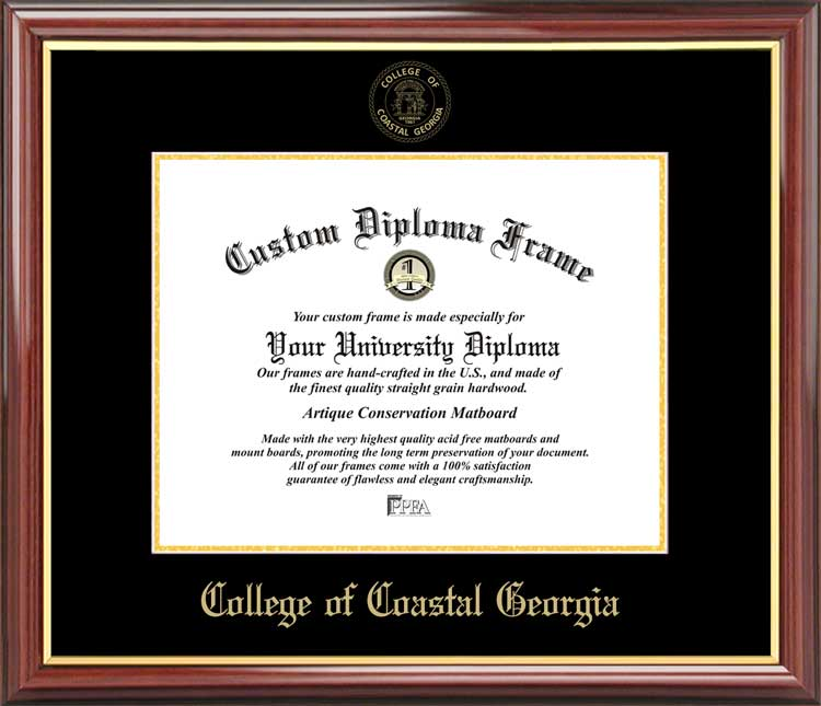 College - College of Coastal Georgia Mariners - Embossed Seal - Mahogany Gold Trim - Diploma Frame