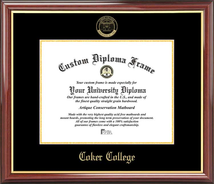 College - Coker College Cobras - Embossed Seal - Mahogany Gold Trim - Diploma Frame