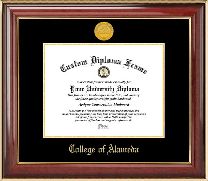 College - College of Alameda  - Gold Medallion - Mahogany Gold Trim - Diploma Frame
