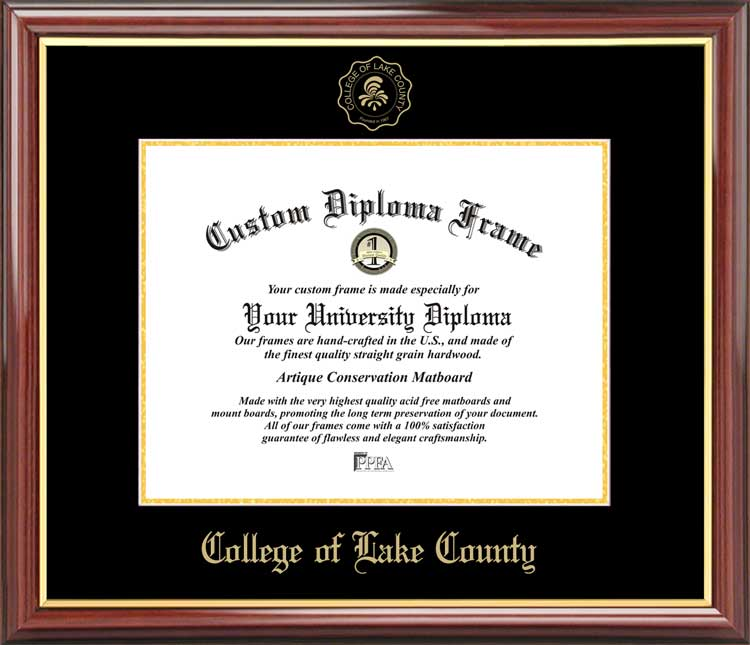 College - College of Lake County  - Embossed Seal - Mahogany Gold Trim - Diploma Frame