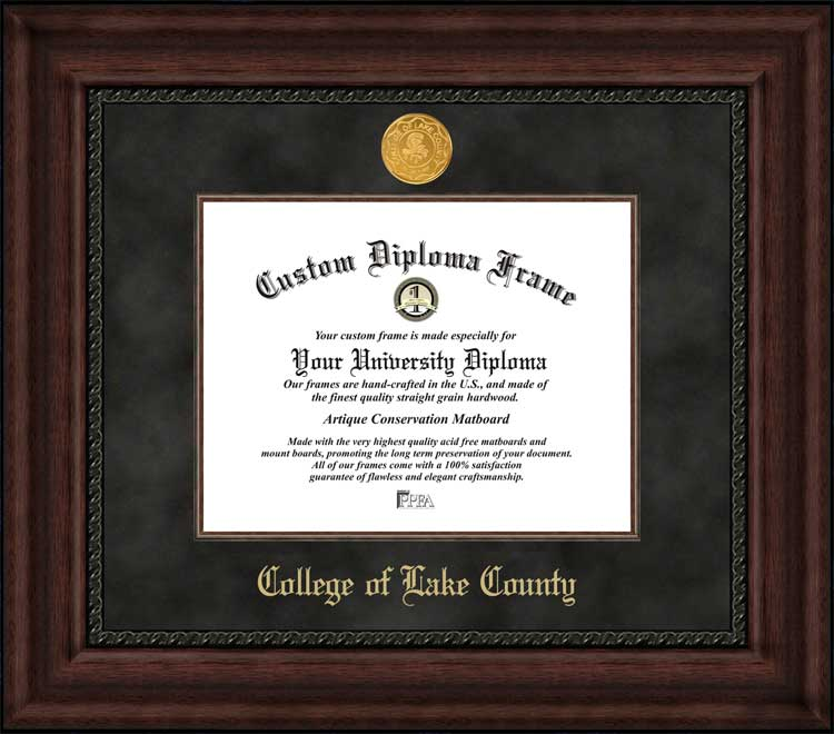 College - College of Lake County  - Gold Medallion - Suede Mat - Mahogany - Diploma Frame