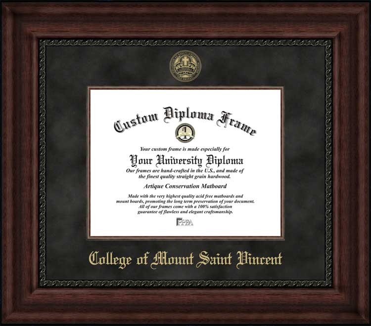 College - College of Mount Saint Vincent  - Embossed Seal - Suede Mat - Mahogany - Diploma Frame