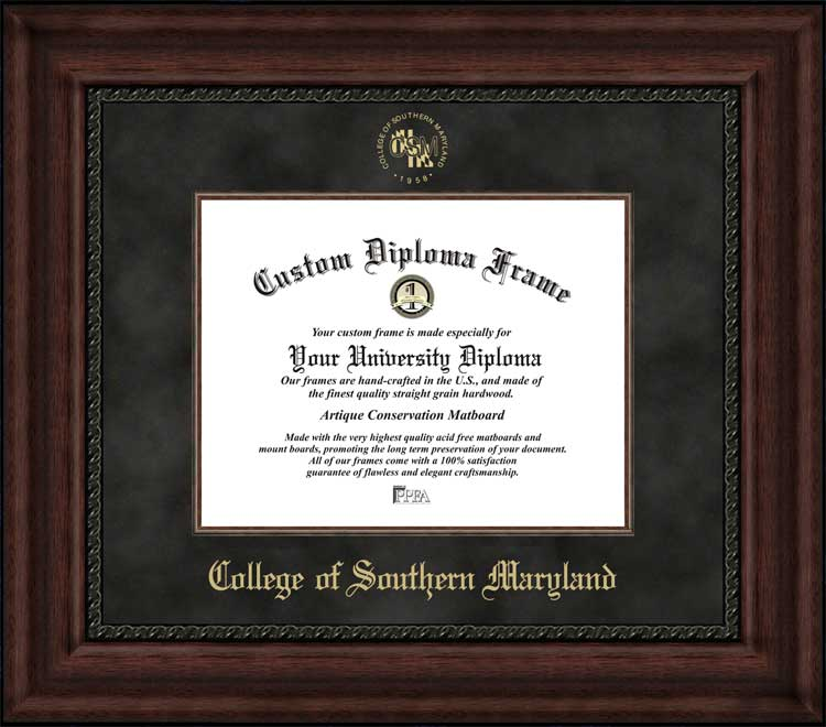 College - College of Southern Maryland  - Embossed Seal - Suede Mat - Mahogany - Diploma Frame