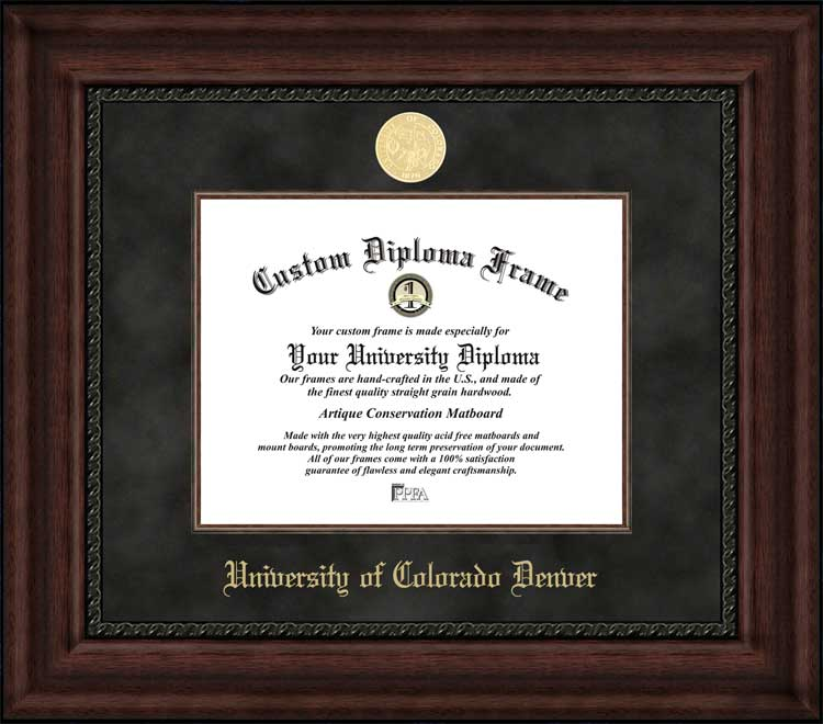 College - University of Colorado Denver Lynxes - Gold Medallion - Suede Mat - Mahogany - Diploma Frame