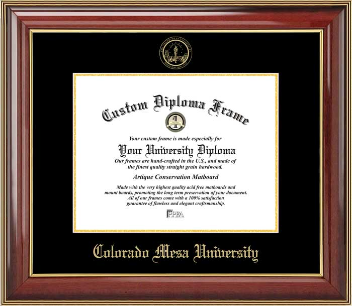 College - Colorado Mesa University Mavericks - Embossed Seal - Mahogany Gold Trim - Diploma Frame