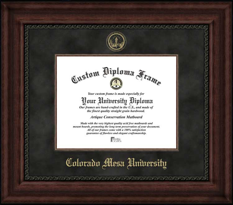 College - Colorado Mesa University Mavericks - Embossed Seal - Suede Mat - Mahogany - Diploma Frame
