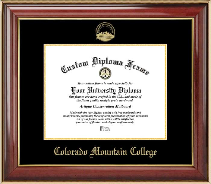 College - Colorado Mountain College  - Embossed Seal - Mahogany Gold Trim - Diploma Frame