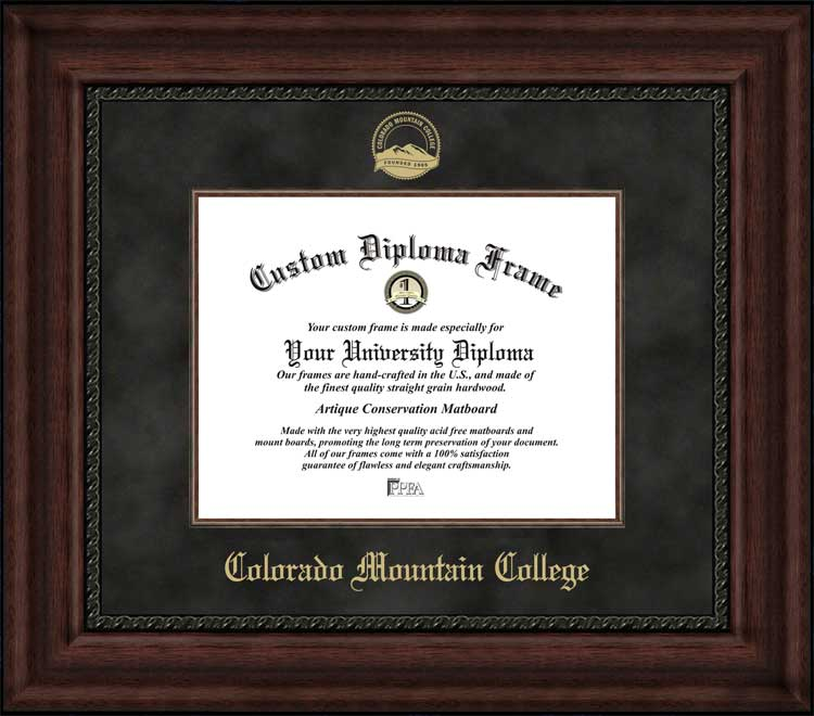 College - Colorado Mountain College  - Embossed Seal - Suede Mat - Mahogany - Diploma Frame