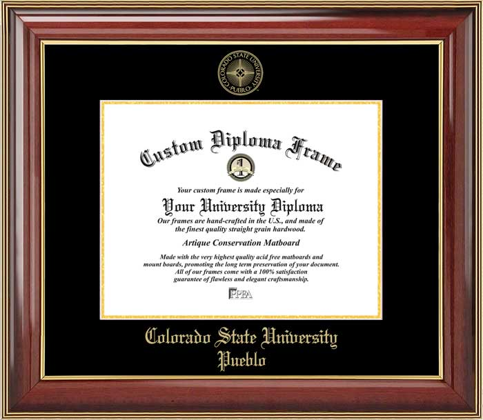 College - Colorado State University-Pueblo ThunderWolves - Embossed Seal - Mahogany Gold Trim - Diploma Frame