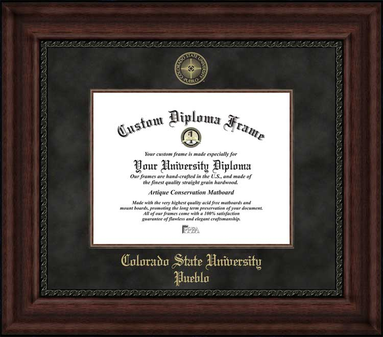 College - Colorado State University-Pueblo ThunderWolves - Embossed Seal - Suede Mat - Mahogany - Diploma Frame