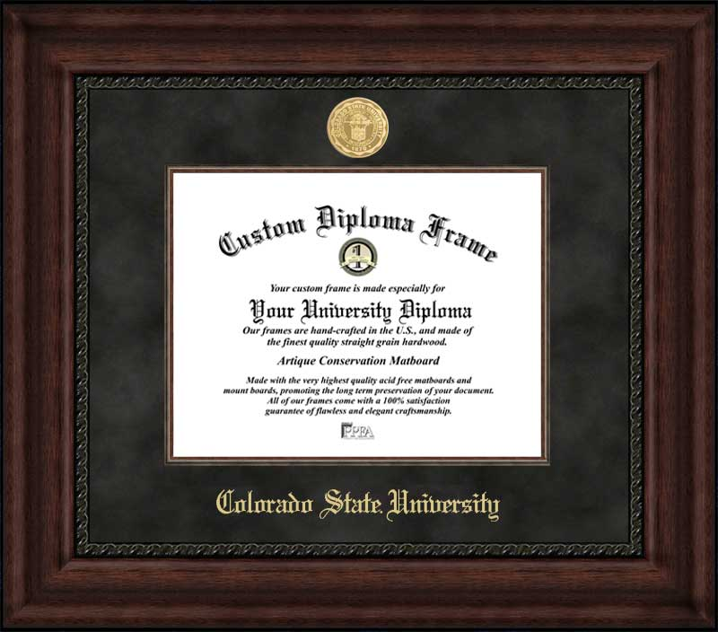 College - Colorado State University Rams - Gold Medallion - Suede Mat - Mahogany - Diploma Frame