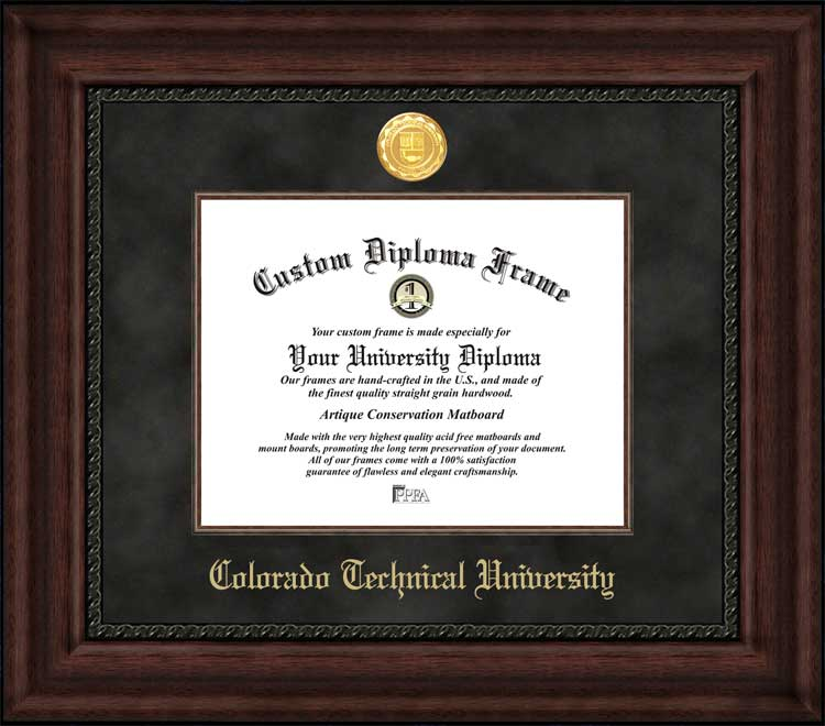 College - Colorado Technical University  - Gold Medallion - Suede Mat - Mahogany - Diploma Frame