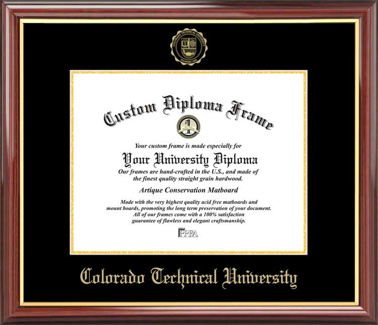 College - Colorado Technical University  - Embossed Seal - Mahogany Gold Trim - Diploma Frame