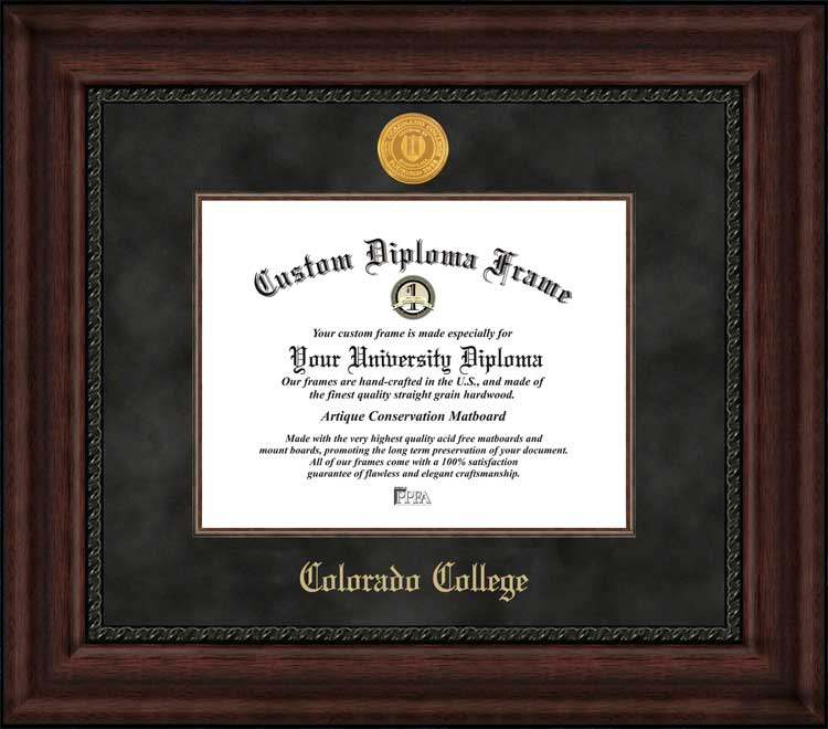 College - Colorado College Tigers - Gold Medallion - Suede Mat - Mahogany - Diploma Frame