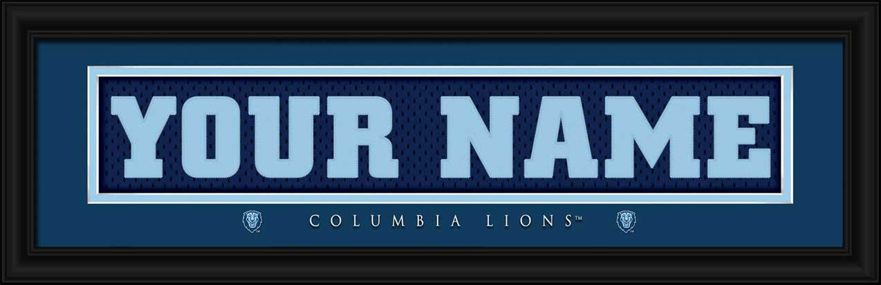 College - Columbia Lions - Personalized Jersey Nameplate - Framed Picture