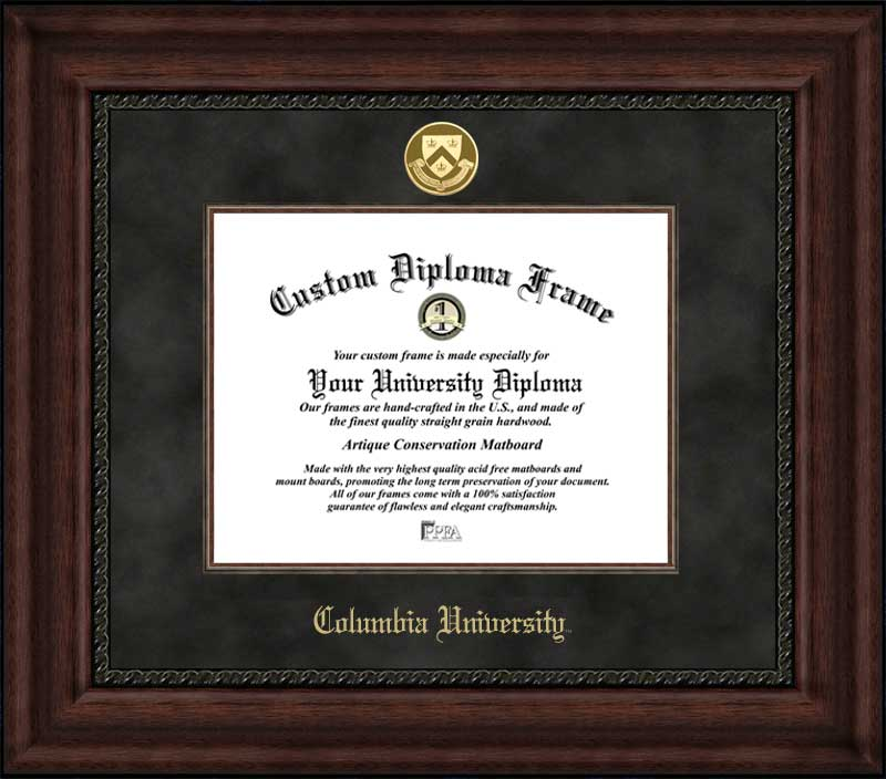 College - Columbia University Lions - Gold Medallion - Suede Mat - Mahogany - Diploma Frame