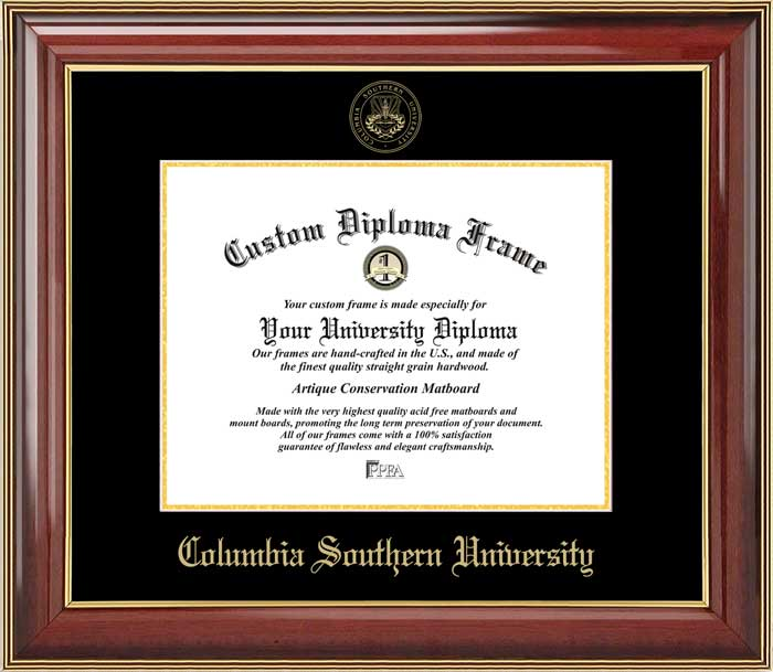 College - Columbia Southern University  - Embossed Seal - Mahogany Gold Trim - Diploma Frame