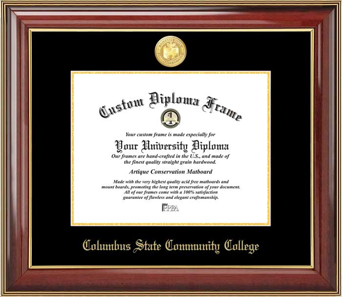 College - Columbus State Community College Cougars - Gold Medallion - Mahogany Gold Trim - Diploma Frame
