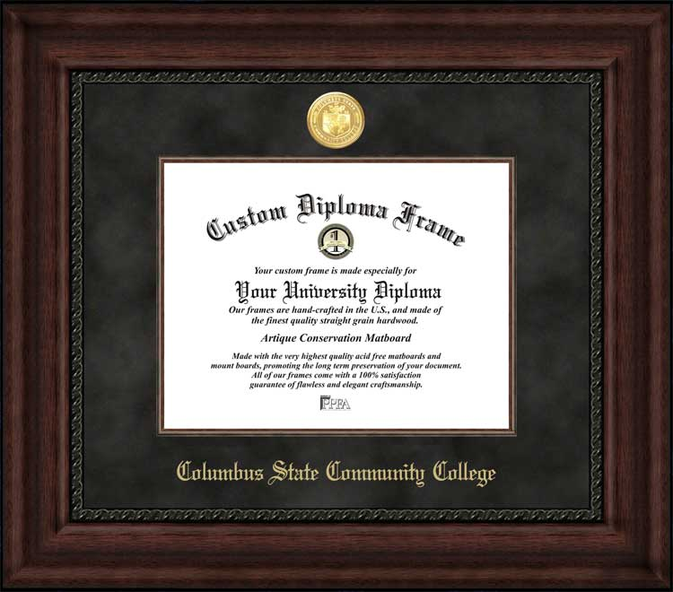 College - Columbus State Community College Cougars - Gold Medallion - Suede Mat - Mahogany - Diploma Frame