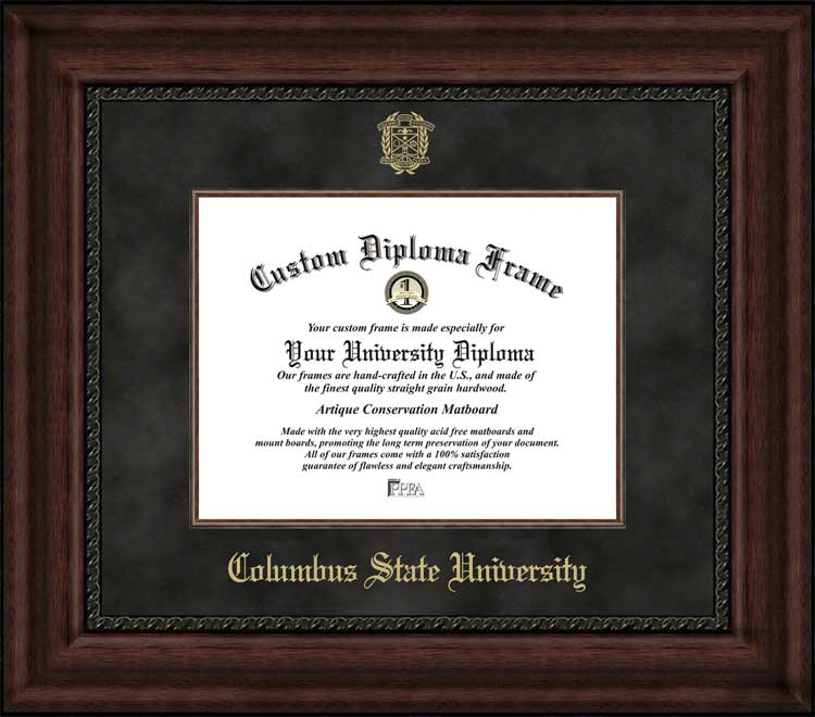 College - Columbus State University Cougars - Embossed Seal - Suede Mat - Mahogany - Diploma Frame