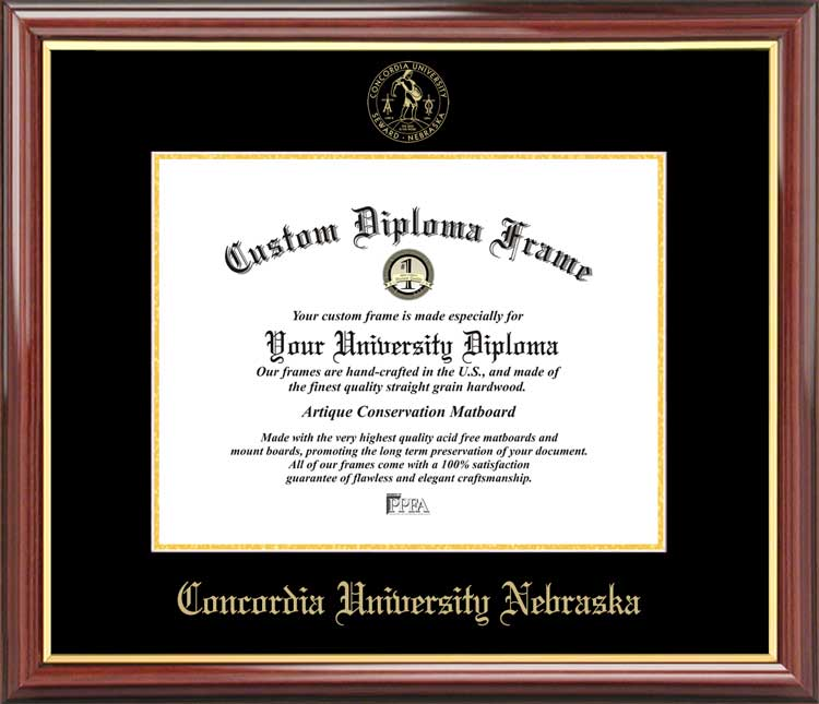 College - Concordia University Nebraska Bulldogs - Embossed Seal - Mahogany Gold Trim - Diploma Frame